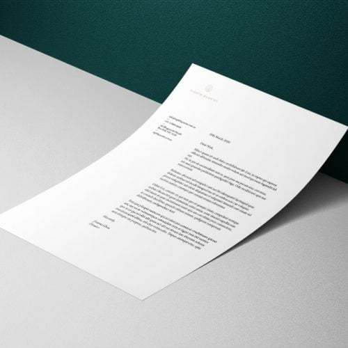 Foiled letterhead designed and printed by nuvismedia - graphic designers, Melbourne