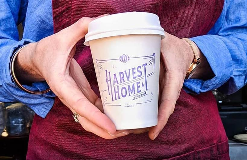 Harvest Home, Avenel coffee cup stamp design and production by nuvismedia graphic design, Melbourne