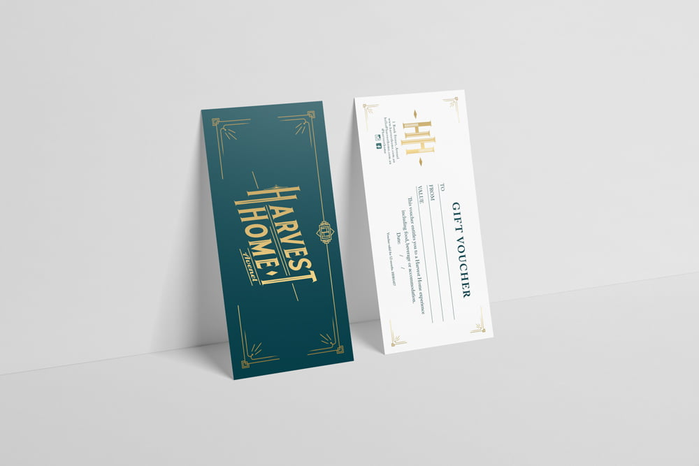 Harvest Home, Avenel gift card design and print by nuvismedia graphic design, Melbourne