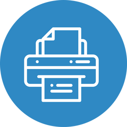 An icon button showing a printer - button to take the user to the part of the page detailing information about print services