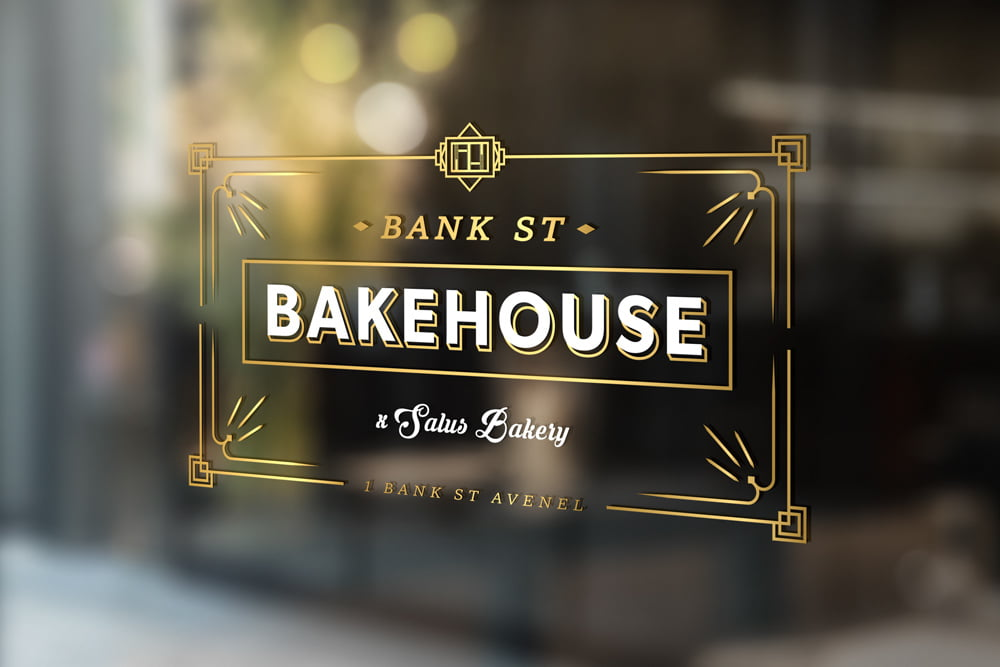 Bank Street Bakehouse logo design by nuvismedia, Melbourne, displayed as a window decal