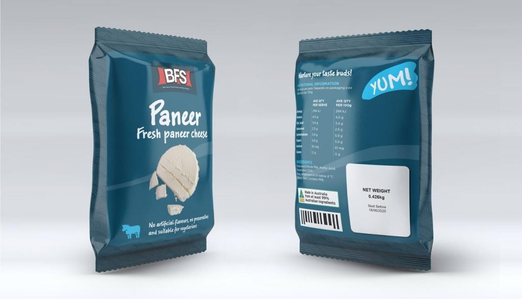 paneer cheese packet design layout