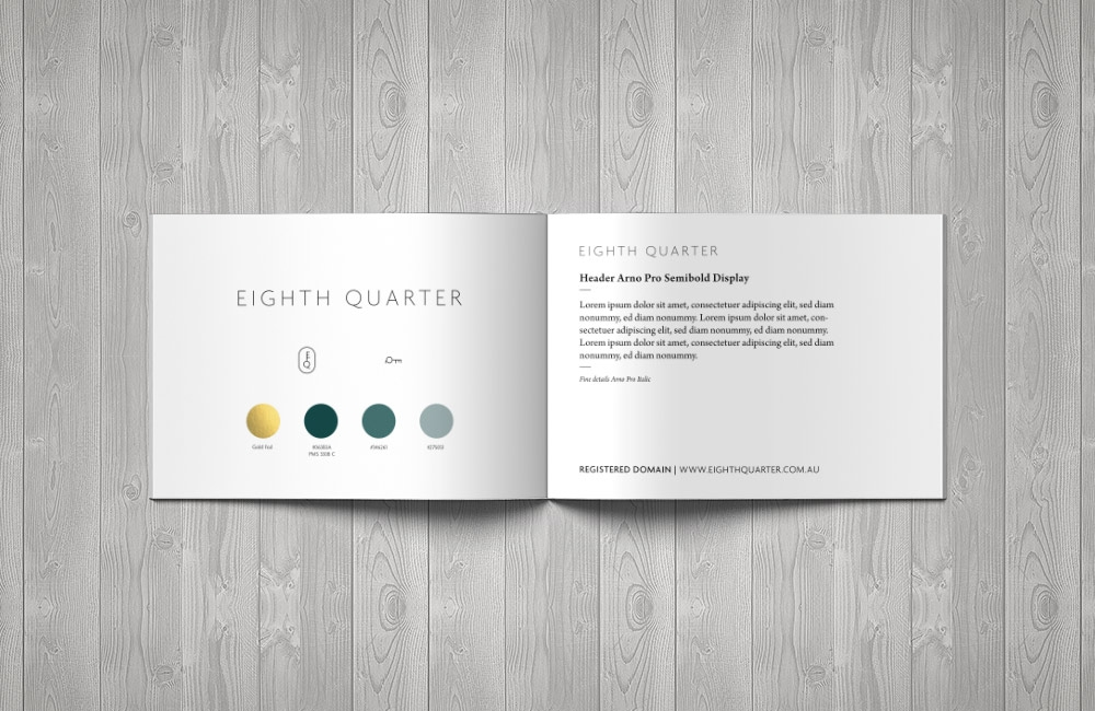 Eighth Quarter branding design by nuvismedia, Melbourne - typography and colour palette
