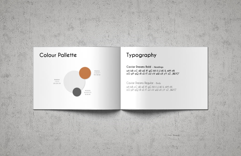 Embracing Space branding design by nuvismedia, Melbourne - typography and colour palette