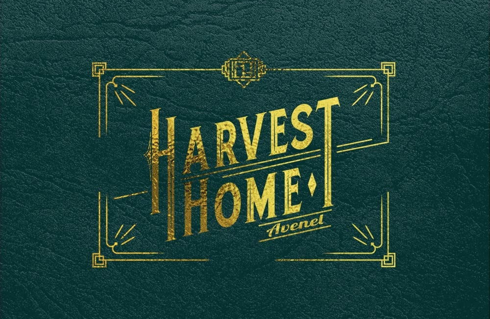 Thick, textured business cards with gold foil logo for Harvest Home, Avenel. Designed by nuvismedia, Melbourne